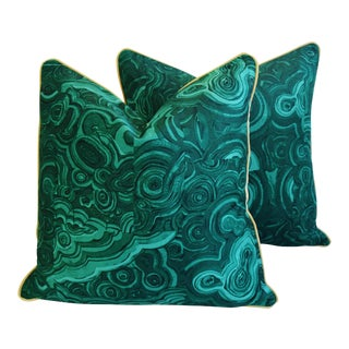 "Tony Duquette-Style Jim Thompson Malachite Feather/Down Pillows 24"" Square - Pair"