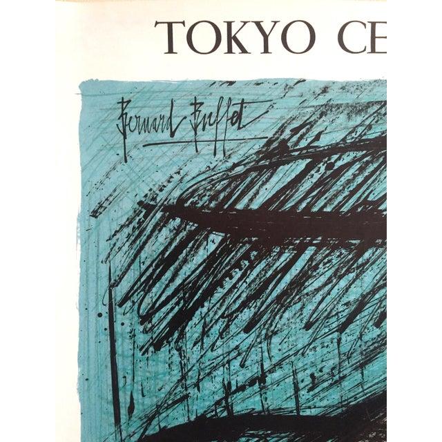 "Turquoise Bernard Buffet Rare Vintage 1980 "" Mourlot Au Japon "" French Lithograph Print Exhibition Poster For Sale - Image 8 of 12"