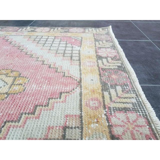 Vintage Faded Oushak Floral Handmade Rug- 2′11″ × 9′1″ For Sale - Image 9 of 11