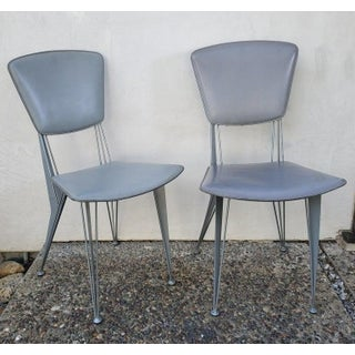 Vintage Italian Industrial Metal & Leather Chairs- A Pair Preview