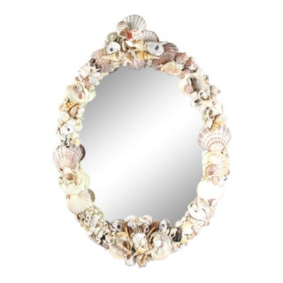 1950s Vintage Shell Encusted Mirror For Sale
