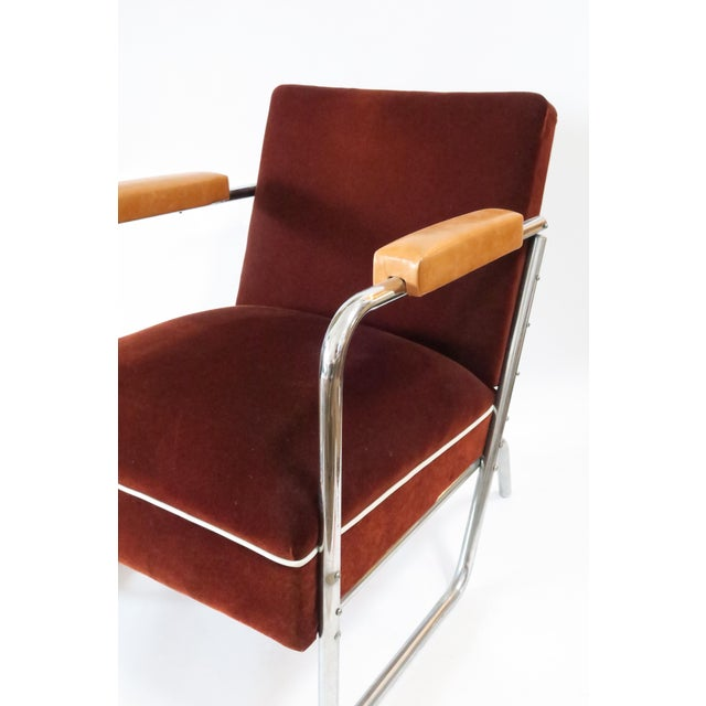 Mid-Century Modern Vintage German Mohair Upholstered Chrome Chair For Sale - Image 3 of 6