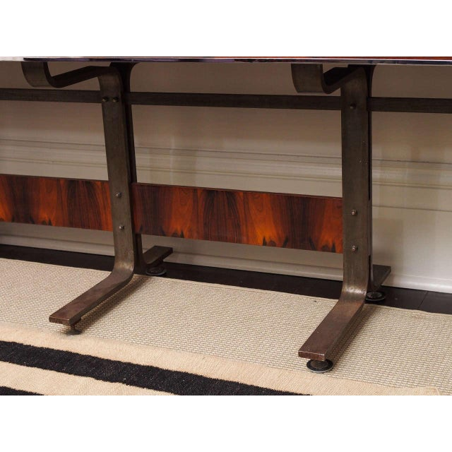 Brown Rosewood & Steel Console For Sale - Image 8 of 11