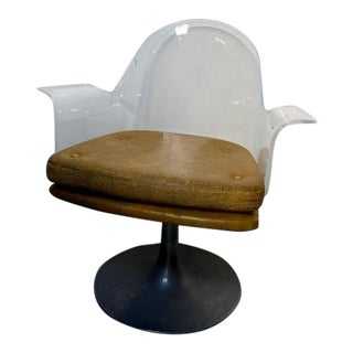 Modern Minimal Lucite Swivel Armchair For Sale