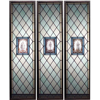 19th Century English Renaissance Leaded Glass Windows-Set of 3 For Sale
