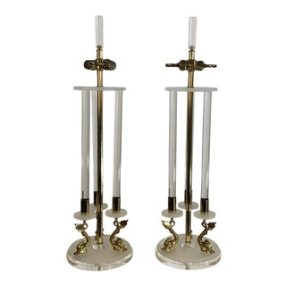 Clear & Frosted Lucite With Brass Dolphin Lamps in the Manner of Maison Charles For Sale