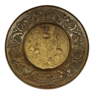 Vintage Mid-Century English Thistle Design Brass Plate