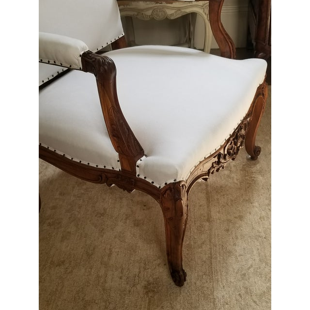 19th C. Walnut Louis XV Armchairs Pair For Sale - Image 12 of 12