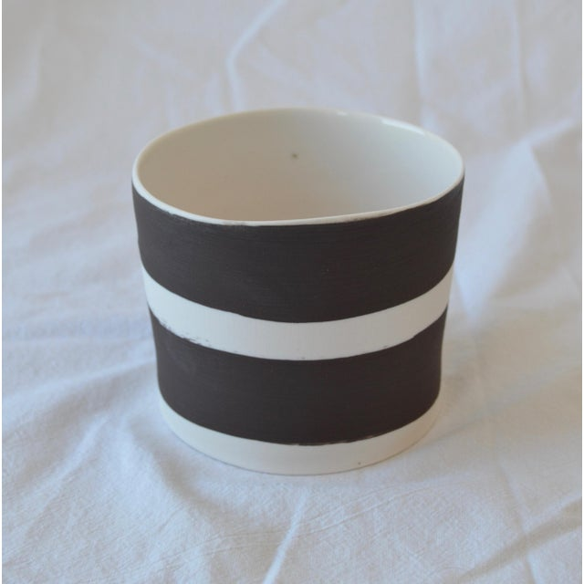 Burnt Umber Contemporary Ceramic Striped Cylindrical Vessels - Set of 5 For Sale - Image 8 of 13