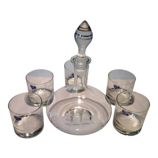 Vintage Nautical Hand Cut Javit Crystal Decanter & Glasses- Set of 6