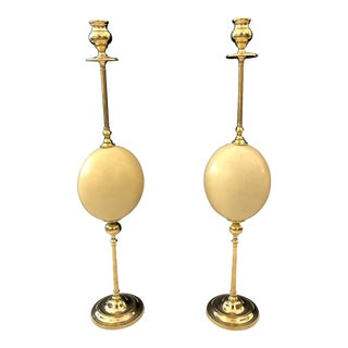 Italian Ostrich Egg & Polished Brass Candle Holders - a Pair For Sale