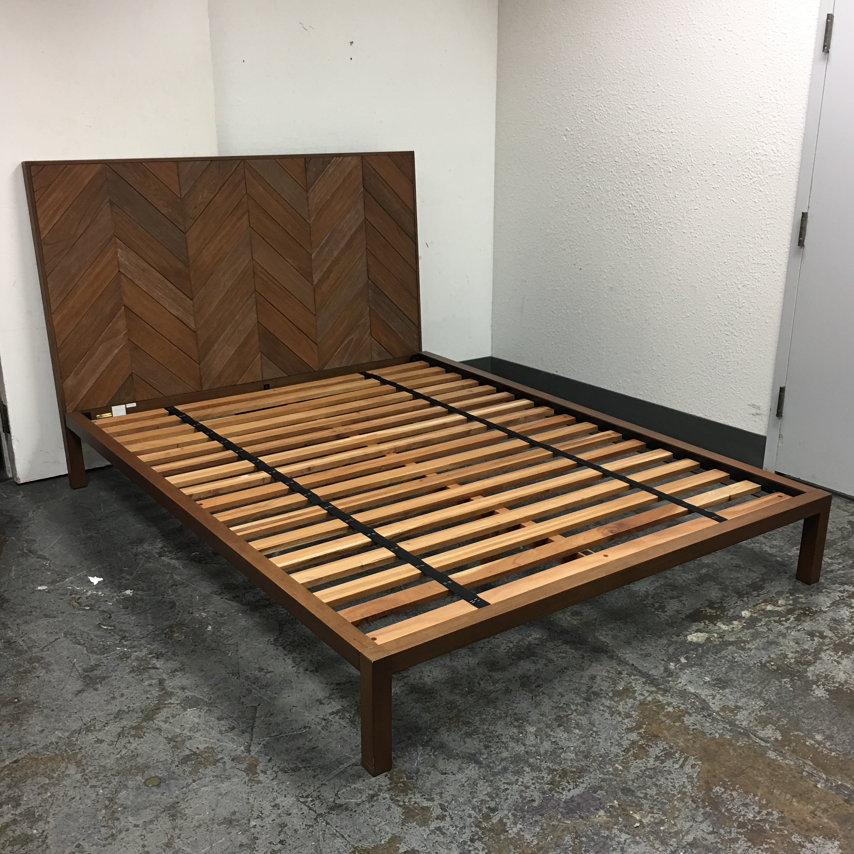 Crate Barrel Chevron Collection Queen Size Bed Frame Chairish