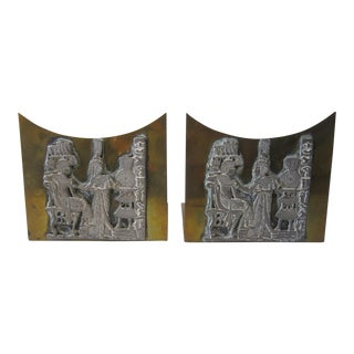 Egyptian Brass Bookends - A Pair For Sale