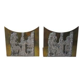 Egyptian Brass Bookends - A Pair