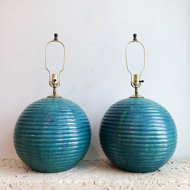 Mid-Century Modern Vintage Teal Round Glazed Terra Cotta Lamps - a Pair For Sale - Image 3 of 10