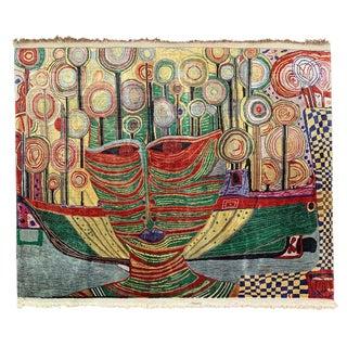 Silk Tapestry Inspired by Friedensreich Hundertwasser For Sale