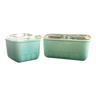 1940s Fridge Storage Container, Glasbake Turquoise Glass Dish, Set of 2 For Sale