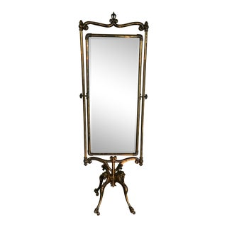 19th C. Griffin Brass Cheval Mirror For Sale