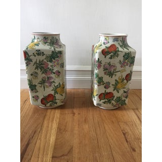 1970's Oriental Exotic Fruit Painted Vases - a Pair Preview