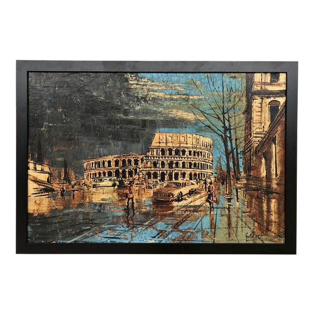 Vintage Mid-Century Roman Colosseum Painting For Sale