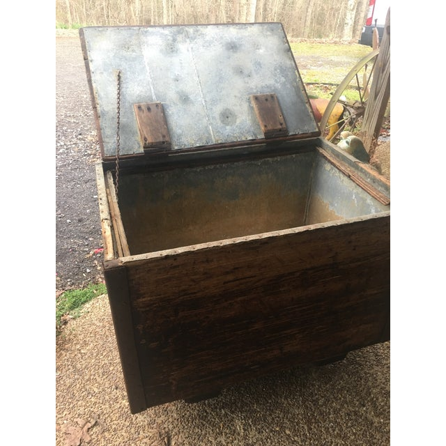 Metal Antique Zinc Lined Wood Icebox For Sale - Image 7 of 8