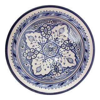 Atlas Blue & White Ceramic Plate For Sale