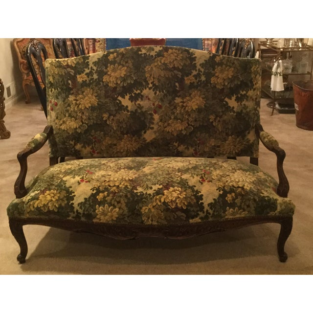 French French 19thC Settee Covered in Scalamandre Marly Forest Green Fabric For Sale - Image 3 of 12