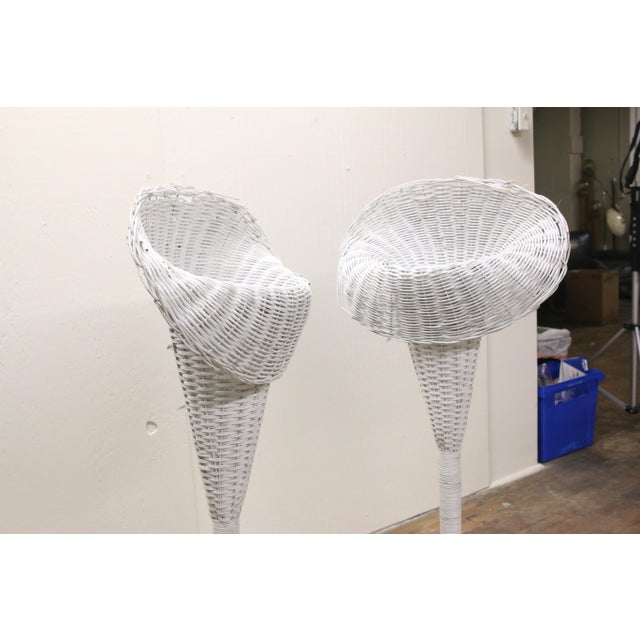 Mid-Century Modern Modern White Wicker Lily-Shaped Tulip Planter Stands - a Pair For Sale - Image 3 of 11
