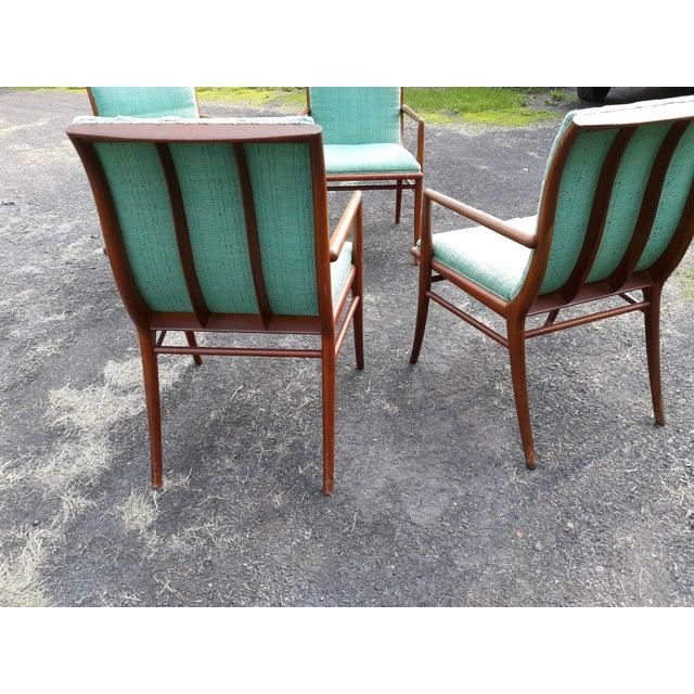 1950s Vintage Mid Century T.H. Robsjohn Gibbings for Widdicomb Saber Leg Armchairs- Set of 4 For Sale - Image 5 of 13