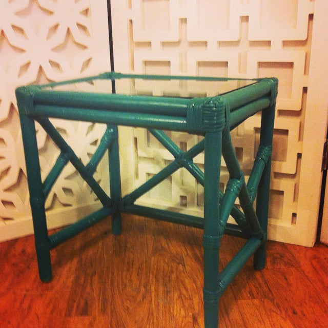 Bamboo Cocktail Table With Chippendale Lattice - Image 3 of 5