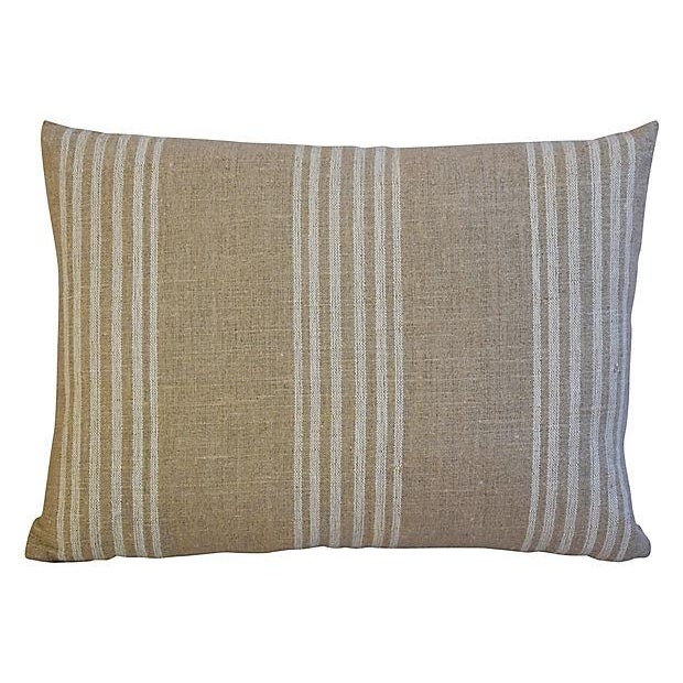 Custom Tan & White French Ticking Feather & Down Pillows - A Pair - Image 3 of 11