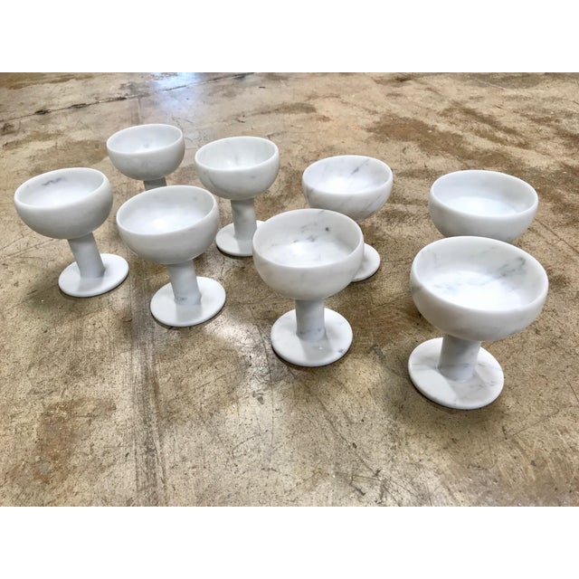 Set of 8 Carrara Marble Chalices, Italy Every single chalice is unique and different from the other. Italian prestigious...