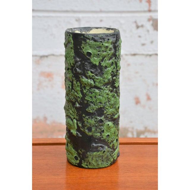 Vintage Mid-Century lava glaze vase in green and black textured glaze. Very good vintage condition, no chips or cracks...