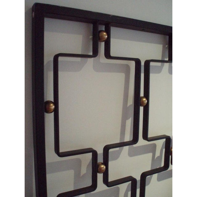 Brass Jean Royere Large Wrought Iron and Brass Screen France circa 1955 For Sale - Image 7 of 8
