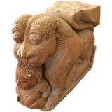 Image of Pair of 18th Century Indian Teak Wood Guardian Lion Architectural Carvings For Sale