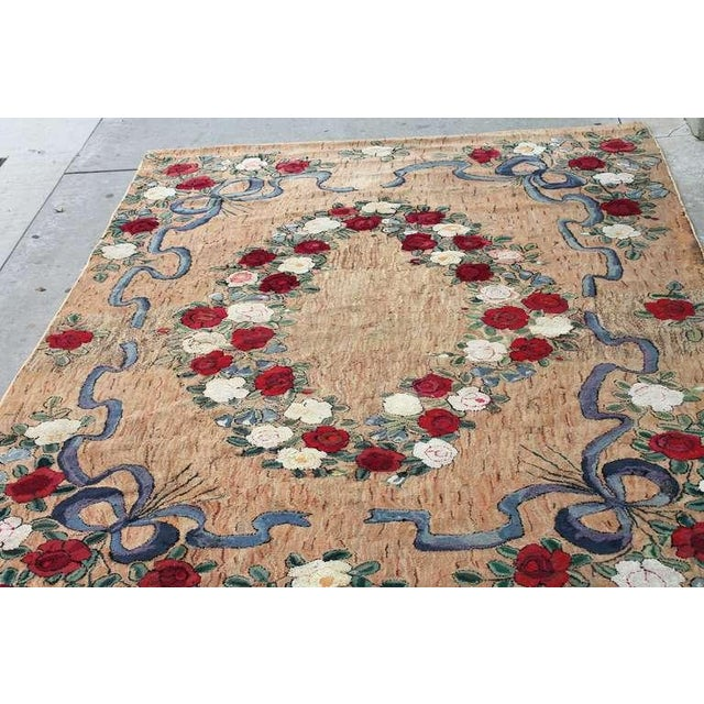 Large Room Sized Rose and Ribbons Hand Hooked Rug For Sale - Image 4 of 7