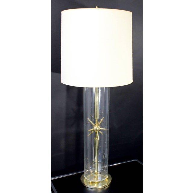 For your consideration is a mod and elegant, Sputnik table lamp, made of brass and glass, from Mutual Sunset Lamp Co....