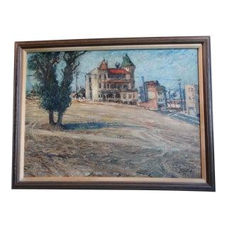 "Circa 1950s ""Bunker Hill Los Angeles"" Urban Landscape Oil Painting by Mentor Huebner, Framed For Sale"