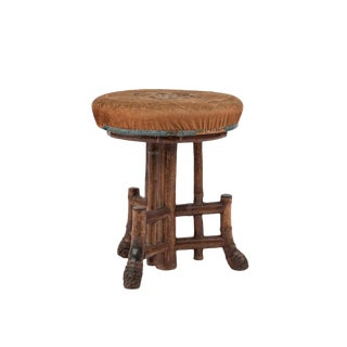English Victorian Bamboo Swivel Stool For Sale