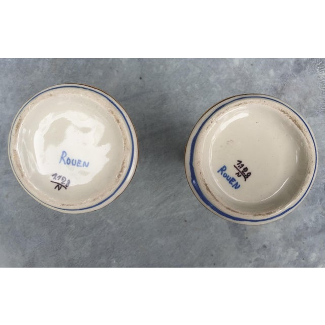Belle Epoque Antique French Faience Rouen Vases - A Pair For Sale - Image 3 of 4
