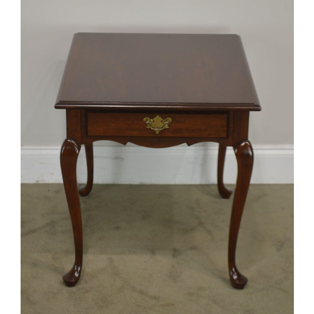 Hitchcock Hitchcock Old Litchfield Solid Cherry Pair Queen Anne One Drawer Side Tables For Sale - Image 4 of 13