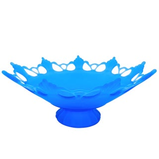 Mid-Century Westmoreland Frosted Blue Glass Filigree Pedestal Bowl For Sale