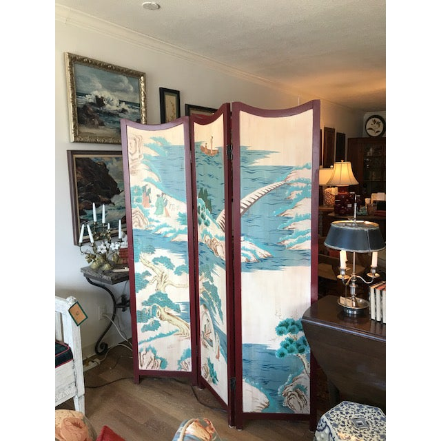 Blue 1960s Asian 3-Panel Screen For Sale - Image 8 of 11