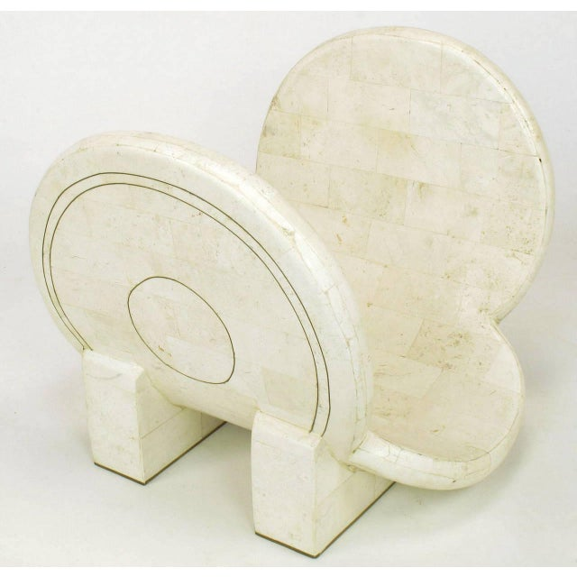 Tessellated Fossil Stone and Brass Postmodern Magazine Holder - Image 4 of 5