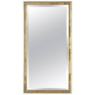 Hollywood Regency Faux Bamboo Giltwood Wall Mirror For Sale