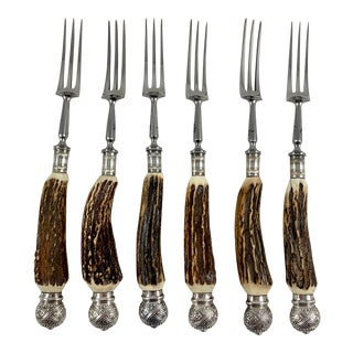 English Sheffield Antler and Silver Three Tined Dining Forks, Boxed - Set of 6 For Sale