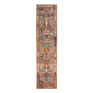 """Contemporary Rajasthan Tribal Red and Blue Multicolor Wool Rug-3'x12"""" For Sale"""