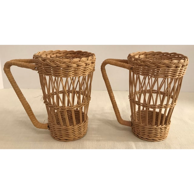 Vintage Wicker Handled Glass Holders - A Pair For Sale - Image 4 of 8