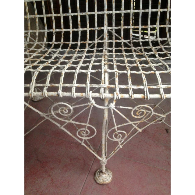 1870s Vintage French Double Wired Iron Wire Victorian Garden Patio Settee For Sale - Image 10 of 13