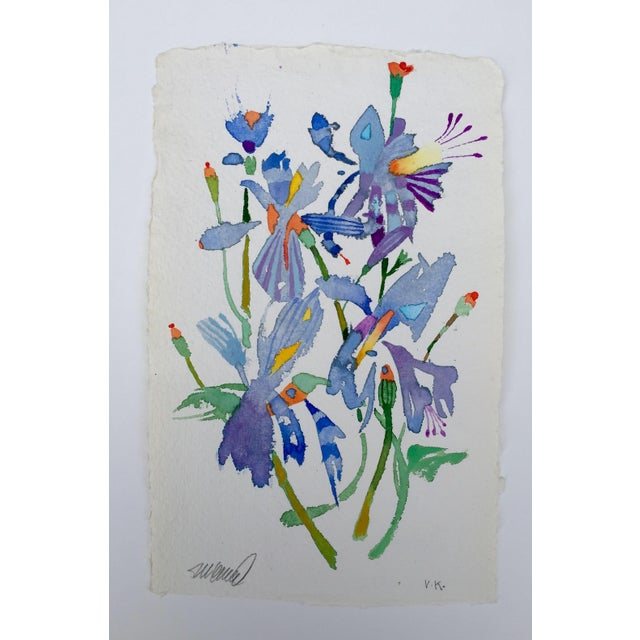 "Original watercolor painting by artist Steve Klinkel, ""Butterfly Lilies 1"". This piece is painted on Punjab 100% cotton..."